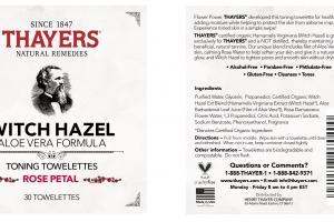WITCH HAZEL ALOE VERA FORMULA TONING TOWELETTES, ROSE PETAL