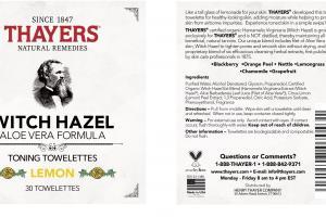 WITCH HAZEL ALOE VERA FORMULA TONING TOWELETTES, LEMON