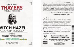 WITCH HAZEL ALOE VERA FORMULA TONING TOWELETTES, CUCUMBER