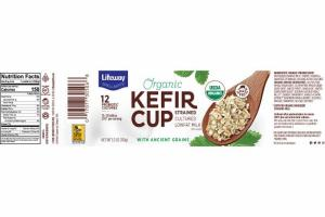 ORGANIC KEFIR CUP STRAINED CULTURED LOWFAT MILK VIT. A & D WITH ANCIENT GRAINS