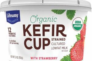 ORGANIC KEFIR CUP STRAINED CULTURED LOWFAT MILK WITH STRAWBERRY ROSEHIP