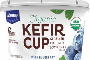 KEFIR CUP WITH BLUEBERRY LAVENDER STRAINED CULTURED LOWFAT MILK