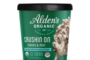 CRUSHIN ON COOKIES & MINT SWIRLED WITH REAL ORGANIC FUDGE ICE CREAM