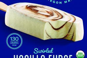 SWIRLED VANILLA FUDGE WITH REAL ORGANIC FUDGE ICE CREAM BAR