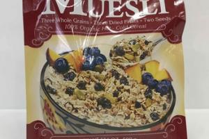 CINNAMON ORGANIC MUESLI THREE WHOLE GRAINS + THREE DRIED FRUITS + TWO SEEDS 100% ORGANIC HOT - COLD CEREAL