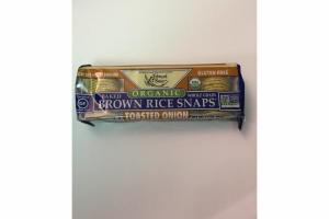 ORGANIC WHOLE GRAIN BAKED BROWN  RICE SNAPS TOASTED ONIONS