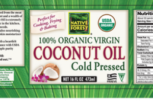 100% ORGANIC VIRGIN COLD PRESSED COCONUT OIL