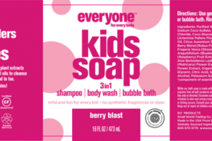 3 IN 1 SHAMPOO, BODY WASH, BUBBLE BATH KIDS SOAP, BERRY BLAST