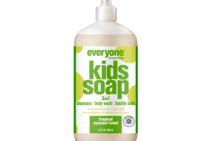3 IN 1 SHAMPOO, BODY WASH, BUBBLE BATH KIDS SOAP, TROPICAL COCONUT TWIST