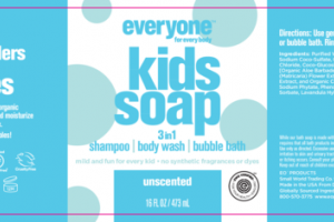 3 IN 1 SHAMPOO, BODY WASH, BUBBLE BATH, KIDS SOAP, UNSCENTED