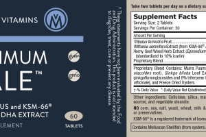 MAXIMUM MALE WITH TRIBULUS AND KSM-66 ASHWAGANDHA EXTRACT DIETARY SUPPLEMENT TABLETS