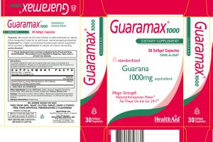 Standardized Guarana 1000mg Equivalent Dietary Supplement