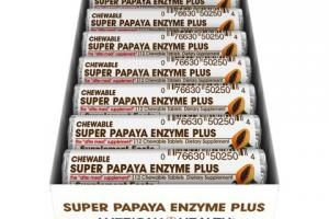 Chewable Super Papaya Enzyme Plus Dietary Supplement Tablets