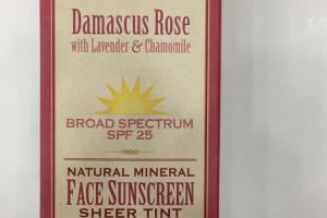 Face Sunscreen Sheer Tint Broad Spectrum Spf  25, Damascus Rose