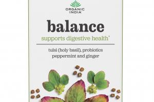 TULSI (HOLY BASIL), PROBIOTICS PEPPERMINT AND GINGER BALANCE PREVENTION WELLNESS INFUSION TEAS BAGS