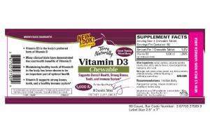 VITAMIN D3 5,000 IU DIETARY SUPPLEMENT CHEWABLE TABLETS