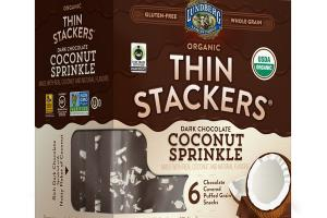 ORGANIC DARK CHOCOLATE COCONUT SPRINKLE COVERED PUFFED GRAIN SNACKS