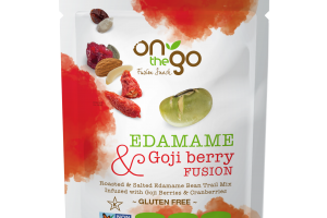 ROASTED & SALTED EDAMAME BEAN TRAIL MIX INFUSED WITH GOJI BERRIES & CRANBERRIES