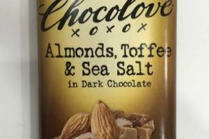 ALMONDS, TOFFEE & SEA SALT IN DARK CHOCOLATE BAR