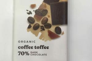 ORGANIC COFFEE TOFFEE 70% DARK CHOCOLATE