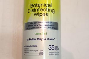 Botanical Disinfecting Wipes, Lemon Scent