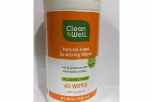 NATURAL HAND SANITIZING WIPES, ORANGE VANILLA