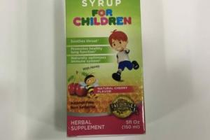 ALL NATURAL THROAT SYRUP FOR CHILDREN HERBAL SUPPLEMENT WITH HONEY, NATURAL CHERRY