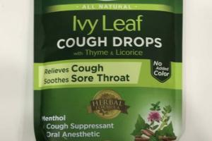 ALL NATURAL IVY LEAF COUGH SORE THROAT DROPS, HONEY LEMON