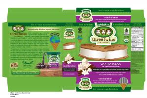 VANILLA BEAN ICE CREAM SANDWICHED BETWEEN CHOCOLATE CHIP COOKIES