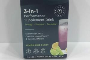 3-IN-1 SPORTS PERFORMANCE SUPPLEMENT DRINK, LEMON-LIME BURST