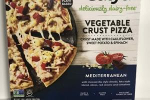 MEDITERRANEAN WITH MOZZARELLA STYLE SHREDS, FETA STYLE BLEND, OLIVES, RED ONIONS AND TOMATOES DELICIOUSLY DAIRY-FREE VEGETABLE CRUST PIZZA