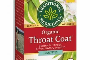 ORGANIC EUCALYPTUS SUPPORTS THROAT & RESPIRATORY HEALTH HERBAL SUPPLEMENT TEA BAGS, THROAT COAT