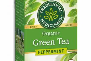 ORGANIC DAILY GREEN TEA HERBAL SUPPLEMENT TEA BAGS, PEPPERMINT