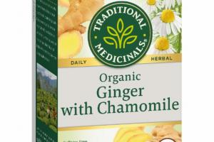 ORGANIC GINGER WITH CHAMOMILE HERBAL SUPPLEMENT WRAPPED TEA BAGS