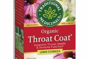 ORGANIC LEMON ECHINACEA SUPPORTS THROAT HEALTH & IMMUNE FUNCTION HERBAL SUPPLEMENT WRAPPED TEA BAGS, THROAT COAT