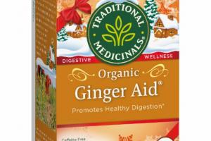 ORGANIC HEALTHY DIGESTION HERBAL SUPPLEMENT WRAPPED TEA BAGS, GINGER AID