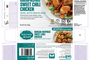 KOREAN-INSPIRED SWEET CHILI CHICKEN BOWL WITH WHITE RICE BRAISED DARK MEAT CHICKEN, SNOW PEAS AND CARROTS IN A SWEET & SPICY RED CHILI SESAME SAUCE