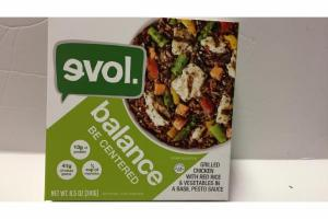 BALANCE BE CENTERED GRILLED CHICKEN WITH RED RICE & VEGETABLES IN A BASIL PESTO SAUCE