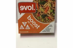 BOOST SOBA NOODLES WITH VEGETABLES IN A CREAMY CASHEW SAUCE
