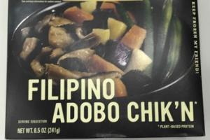 FILIPINO ADOBO CHIK'N MADE WITH ORGANIC KABOCHA SQUASH, PURPLE SWEET POTATOES, & GREEN BEANS