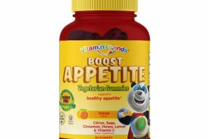 BOOST APPETITE HEALTHY APPETITE CITRON, SAGE, CINNAMON, HONEY, LEMON & VITAMIN C DIETARY SUPPLEMENT VEGETARIAN GUMMIES, ORANGE