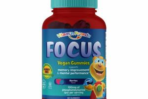 FOCUS MEMORY IMPROVEMENT & MENTAL PERFORMANCE 100 MG OF PHOSPHATIDYLSERINE DIETARY SUPPLEMENT VEGAN GUMMIES, BERRIES
