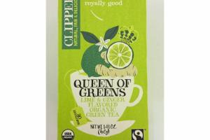 QUEEN OF GREENS LIME & GINGER FLAVORED ORGANIC GREEN TEA