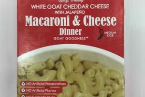 WHITE GOAT CHEDDAR CHEESE WITH JALAPENO MACARONI & CHEESE DINNER