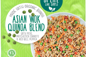 ASIAN WOK QUINOA BLEND WITH PEAS, MATCHSTICK CARROTS & RED BELL PEPPER
