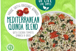 MEDITERRANEAN QUINOA BLEND WITH CHERRY TOMATO SPINACH & BASIL