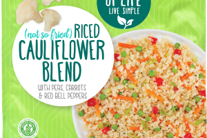 RICED CAULIFLOWER BLEND WITH PEAS, CARROTS & RED BELL PEPPER