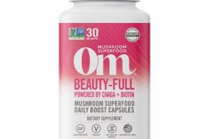 BEAUTY-FULL POWDERED BY CHAGA + BIOTIN MUSHROOM SUPERFOOD DAILY BOOST VEGETARIAN CAPSULES DIETARY SUPPLEMENT