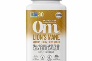 LION'S MANE MUSHROOM SUPERFOOD DAILY BOOST VEGETARIAN CAPSULES DIETARY SUPPLEMENT