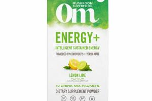 INTELLIGENT SUSTAINED ENERGY POWERED BY CORDYCEPS + YERBA MATE DRINK MIX DIETARY SUPPLEMENT POWDER STICK PACKETS, LEMON LIME FLAVOR